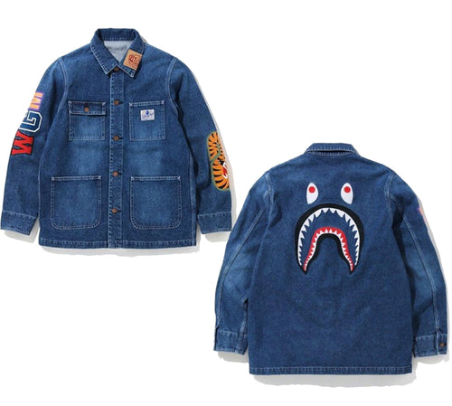 A BATHING APE SHARK DENIM COVERALL JACKET