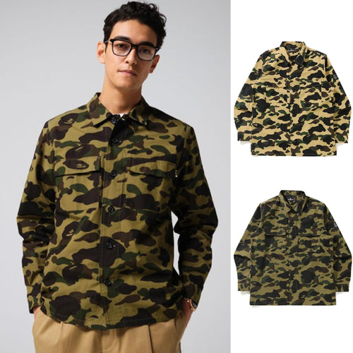 A BATHING APE Mr. BATHINF APE 1ST CAMO MILITARY SHIRT