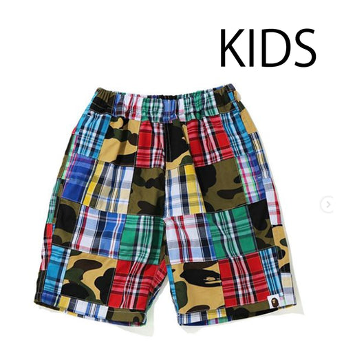 A BATHING APE BAPE KIDS PATCHWORK SHORTS