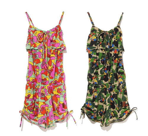 A BATHING APE LADIES' ABC CAMO FLOWER ROMPERS - happyjagabee store
