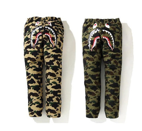 A BATHING APE GORE-TEX 1ST CAMO SHARK TRACK PANTS - happyjagabee store