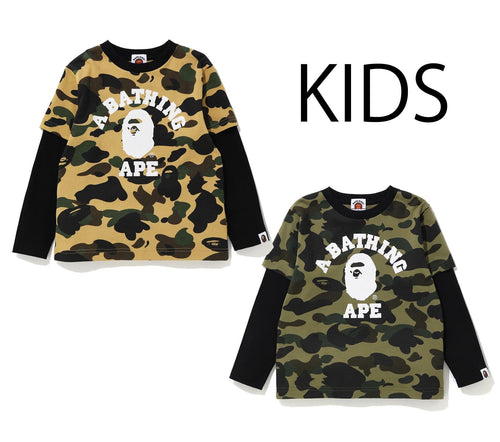 A BATHING APE KIDS 1ST CAMO COLLEGE LAYERED L/S TEE - happyjagabee store