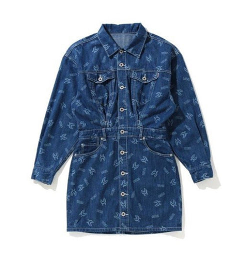 A BATHING APE Ladies' SHARK PATTERN DENIM ONEPIECE