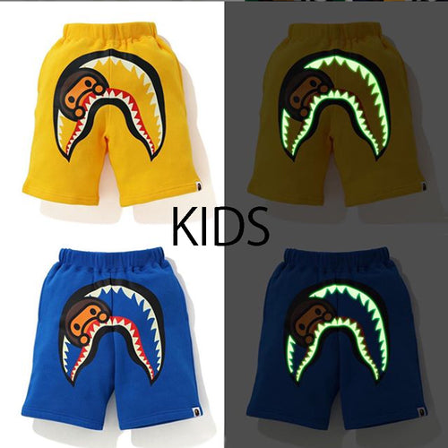 A BATHING APE BAPE KIDS GLOW IN THE DARK MILO SHARK SWEAT SHORTS