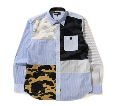 A BATHING APE Mr. BATHING APE 1ST CAMO MULTI PATTERN SHIRT