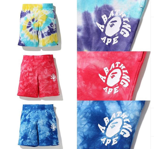 A BATHING APE TIE DYE SWEAT SHORTS