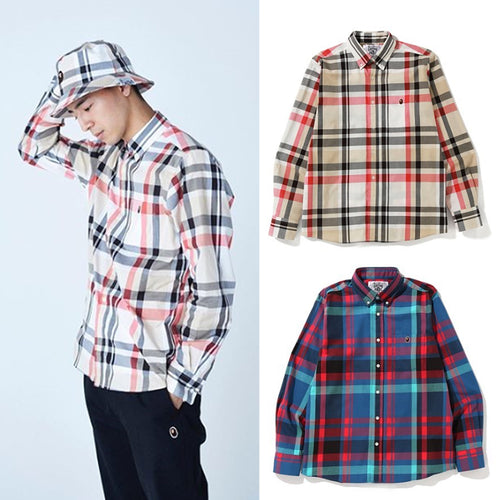 A BATHING APE BAPE CHECK SHIRT - happyjagabee store