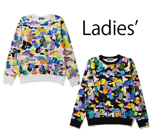 A BATHING APE Ladies' MULTI CAMO CREWNECK