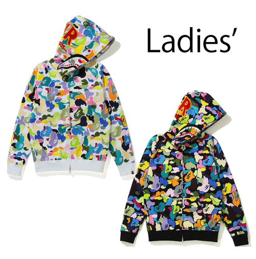 A BATHING APE Ladies' MULTI CAMO SHARK FULL ZIP HOODIE