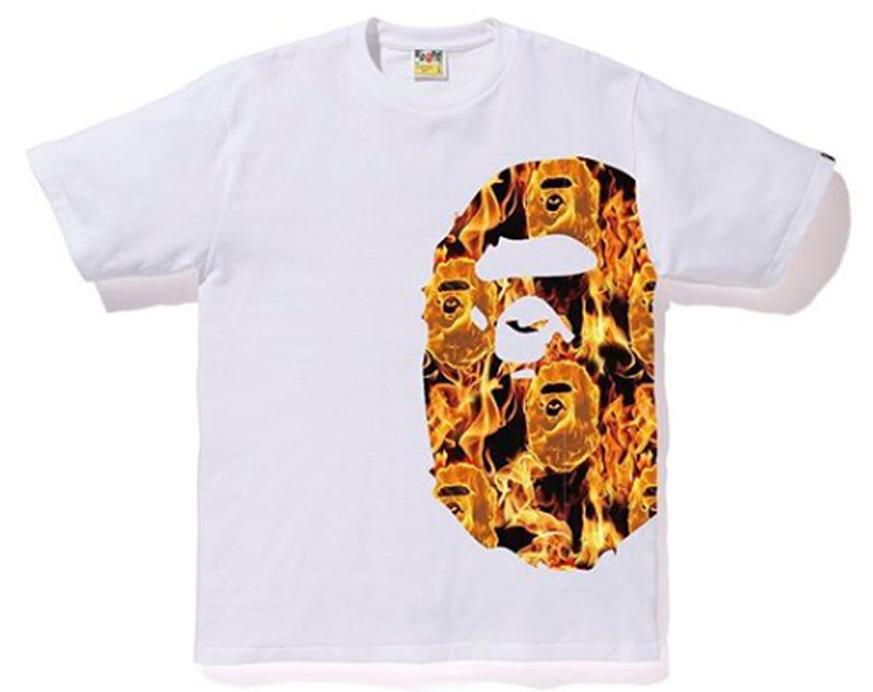 A BATHING APE BAPE FLAME SIDE BIG APE HEAD TEE - happyjagabee store