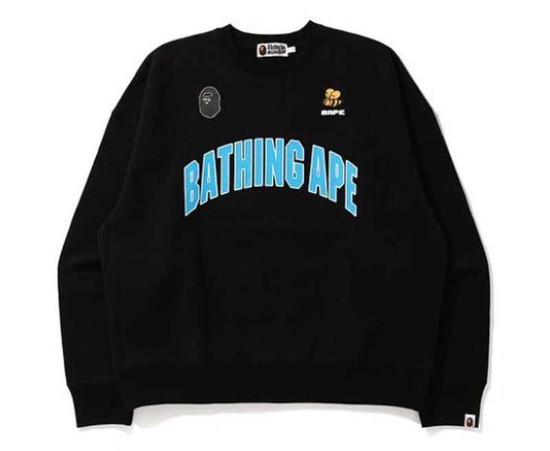 A BATHING APE BUSY WORKS LOOSE FIT COLLEGE CREWNECK