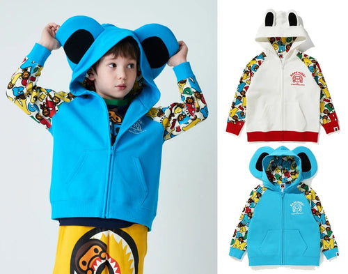 A BATHING APE BAPE KIDS MILO ALPHABET FRIENDS ZIP HOODIE