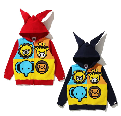 A BATHING APE BAPE KIDS BABY MILO FRIENDS ZIP HOODIE New