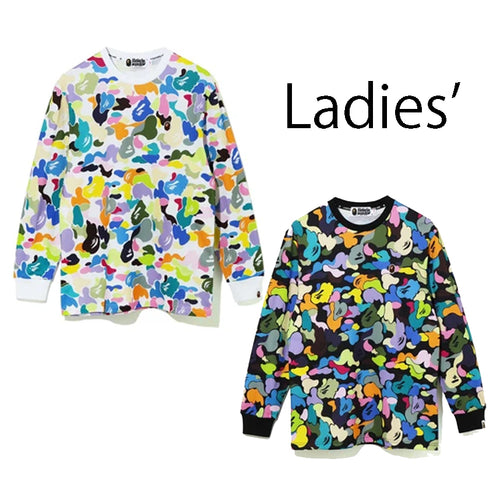 A BATHING APE Ladies' MULTI CAMO OVERSIZED L/S TEE