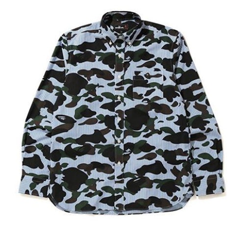 A BATHING APE Mr. BATHING APE 1ST CAMO STRIPE BD SHIRT