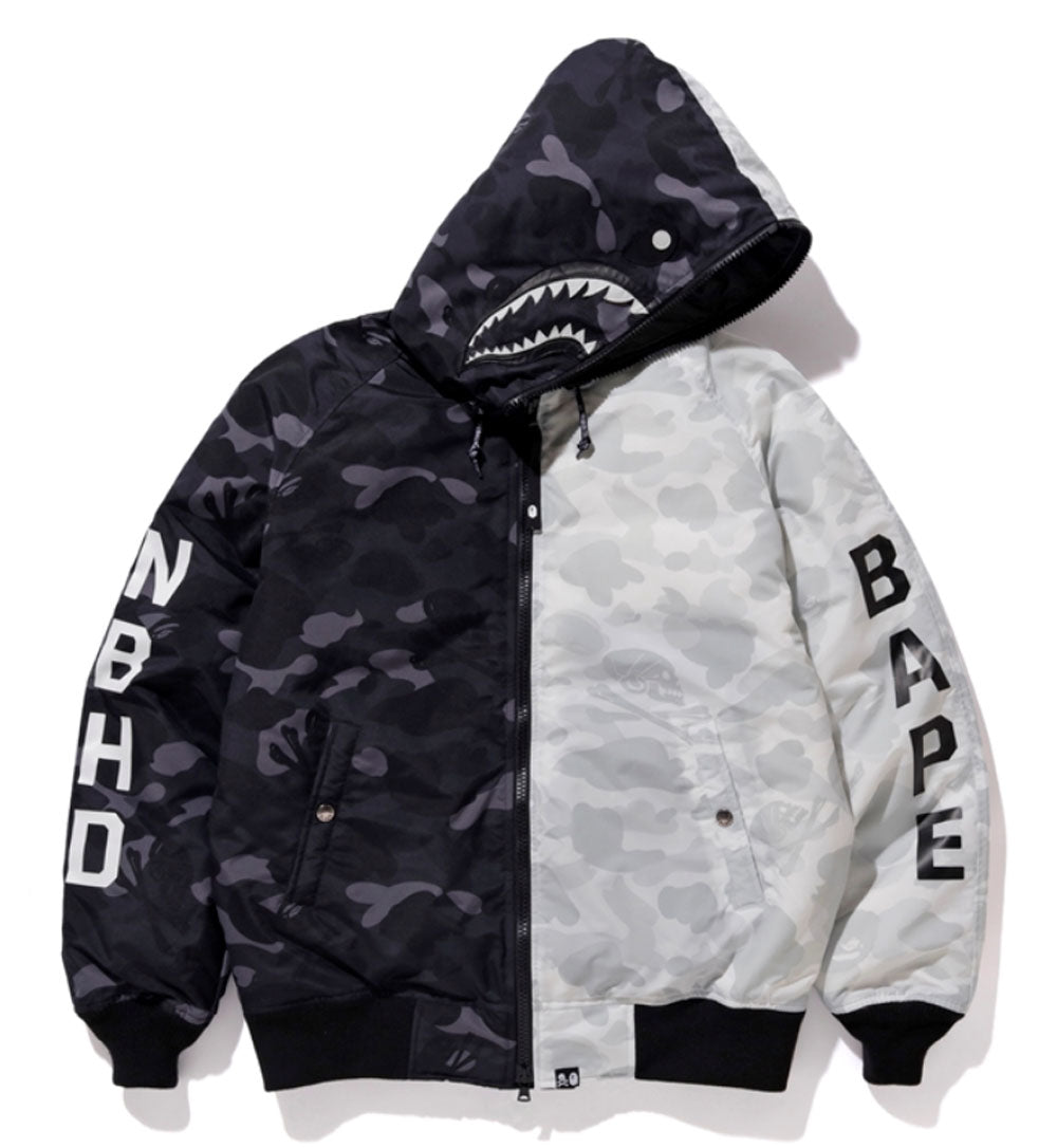 18214c029a34 A BATHING APE x NEIGHBORHOOD BAPE NBHD CAMO SHARK N2-B DOWN JACKET ...