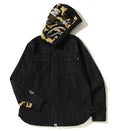 A BATHING APE SHARK DENIM HOODIE SHIRT - happyjagabee store