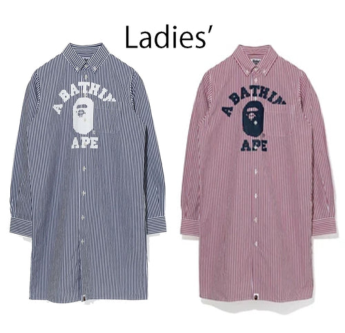 A BATHING APE Ladies' COLLEGE STRIPE SHIRT ONEPIECE