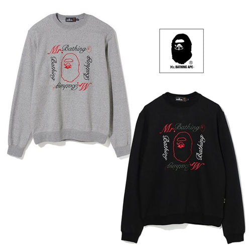 A BATHING APE MR. BATHING APE MR. EMBROIDERY CREWNECK - happyjagabee store