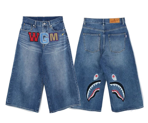 A BATHING APE Ladies' SHARK CROPPED DENIM PANTS