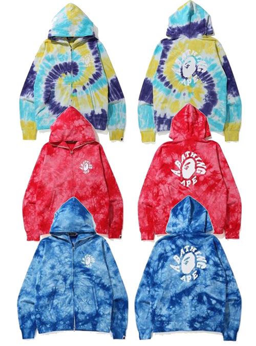 A BATHING APE BAPE TIE DYE WIDE FULL ZIP HOODIE