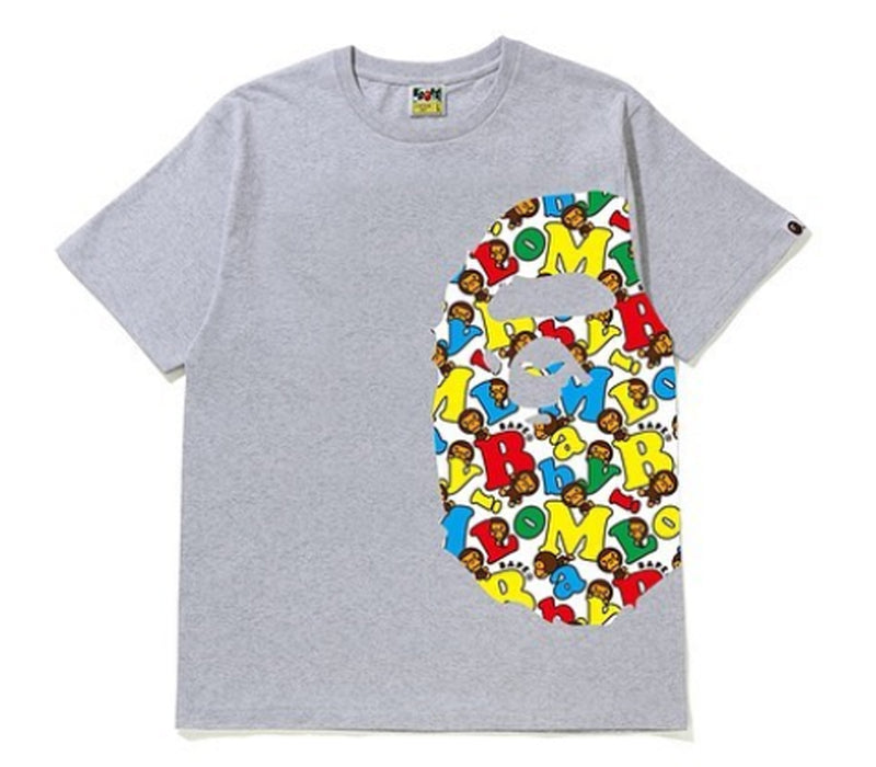 A BATHING APE BABY MILO ALPHABET SIDE APE HEAD TEE
