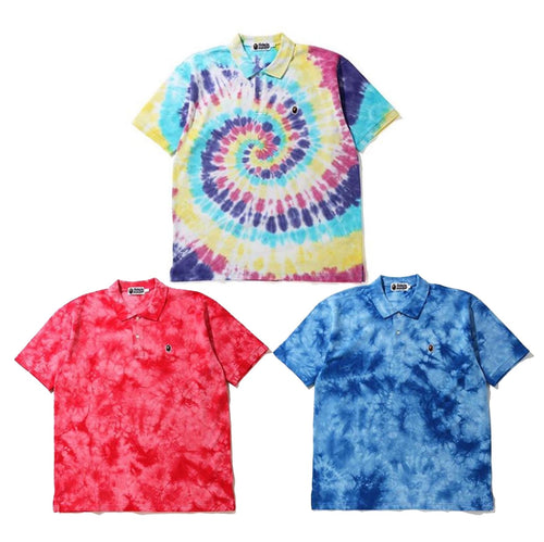 A BATHING APE RELAXED TIE DYE POLO