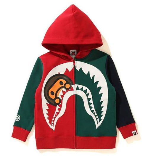 A BATHING APE BAPE KIDS COLOR BLOCK MILO SHARK ZIP HOODIE