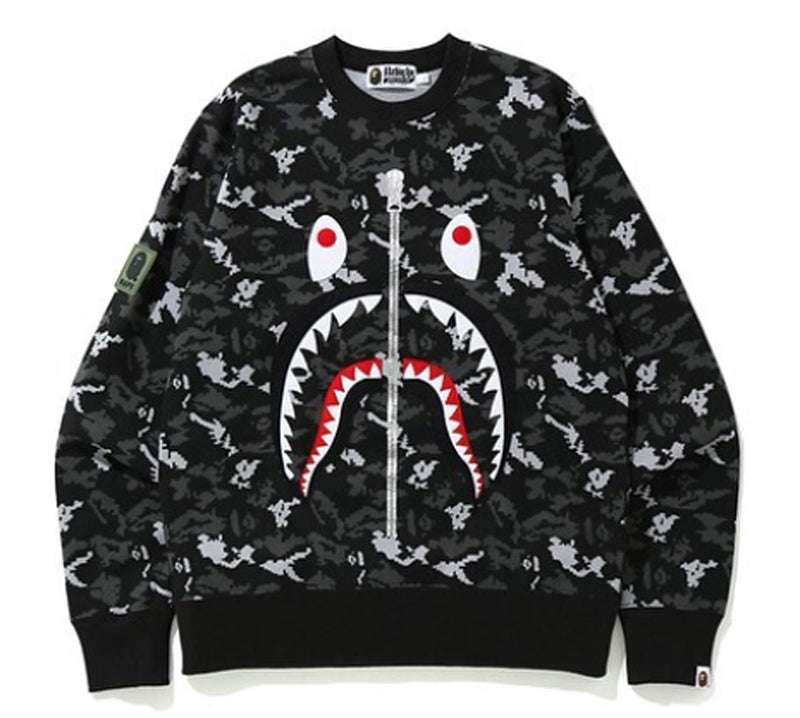 A BATHING APE DIGITAL CAMO SHARK CREWNECK