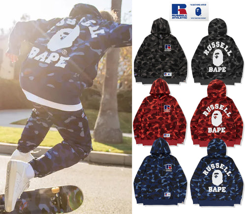 A BATHING APE × RUSSELL ATHLETIC BAPE x RUSSELL COLOR CAMO COLLEGE PULLOVER HOODIE