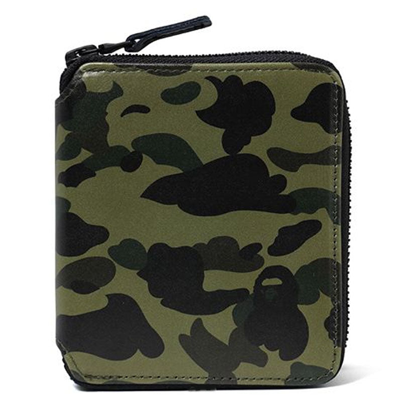 A BATHING APE 1ST CAMO LEATHER WALLET (M) - happyjagabee store