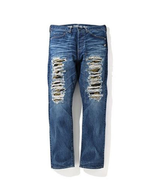 A BATHING APE 1999 TYPE-02 DAMAGED DENIM PANTS