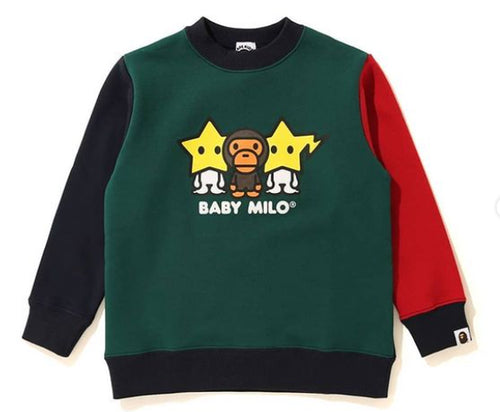 A BATHING APE COLOR BLOCK BABY MILO CREWNECK