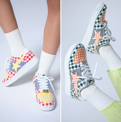 A BATHING APE Ladies' GINGHAM CHECK MULTI PATTERN BAPE STA LOW