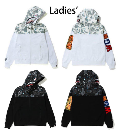 A BATHING APE LADIES' SPACE CAMO PANEL SHARK ZIP HOODIE