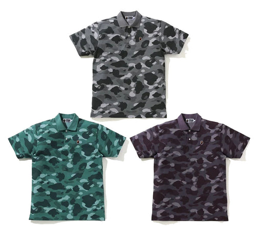 A BATHING APE COLOR CAMO APE HEAD ONE POINT POLO