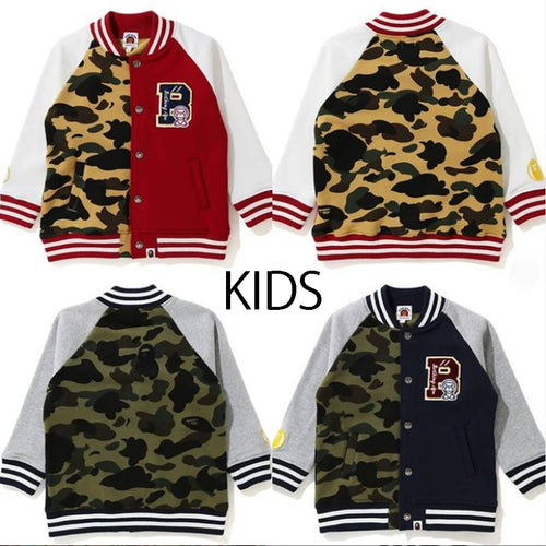 A BATHING APE BAPE KIDS 1ST CAMO MILO COLOR BLOCK SWEAT VARSITY JACKET