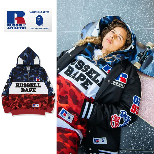 A BATHING APE × RUSSELL ATHLETIC BAPE x RUSSELL COLOR CAMO APE HALF ZIP PULLOVER HOODIE