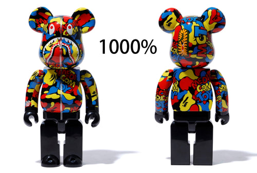 A BATHING APE x MEDICOM TOY CAMO SHARK BE@RBRICK BEARBRICK 1000%