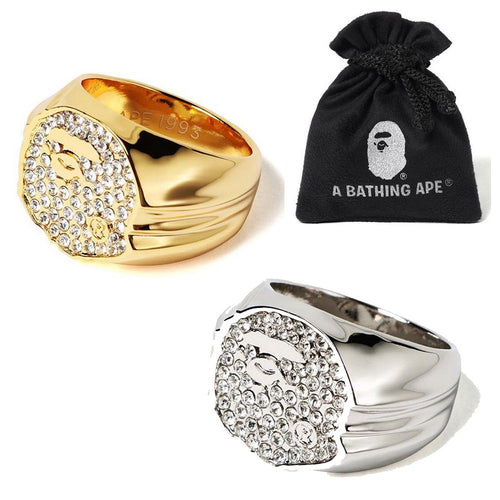 A BATHING APE RHINESTONE APE HEAD RING
