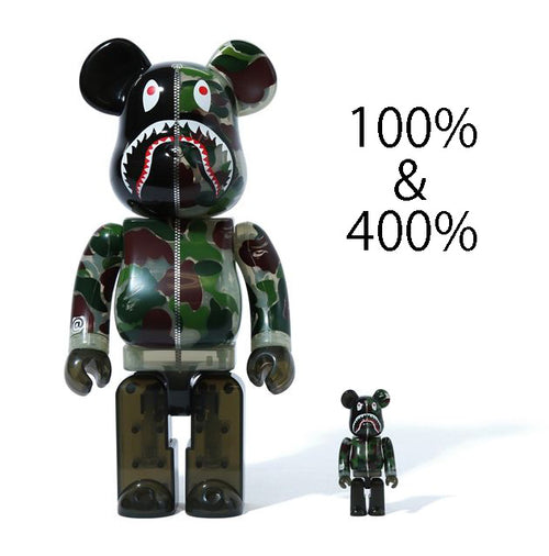 A BATHING APE CLEAR ABC CAMO SHARK BE@RBRICK BEARBRICK 100%&400% SET GREEN
