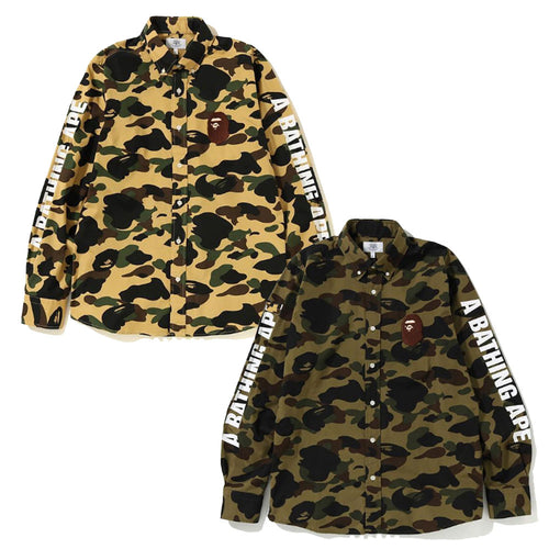 A BATHING APE 1ST CAMO LARGE APE HEAD BD SHIRT - happyjagabee store