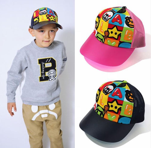 A BATHING APE BAPE KIDS MILO FRIENDS BLOCK MESH CAP