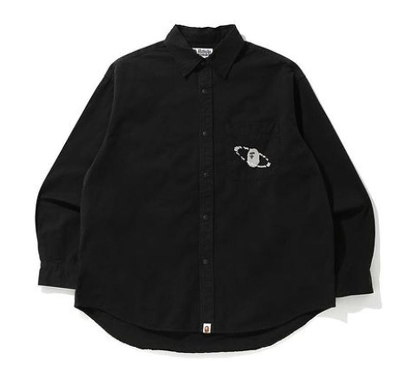 A BATHING APE WASHED TWILL LOOSE FIT SHIRT