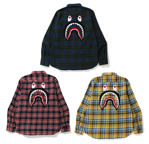 A BATHING APE SHARK FLANNEL CHECK SHIRT - happyjagabee store