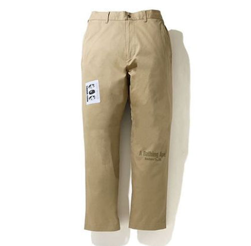 A BATHING APE LABEL PATCH LOOSE FIT CHINO PANTS