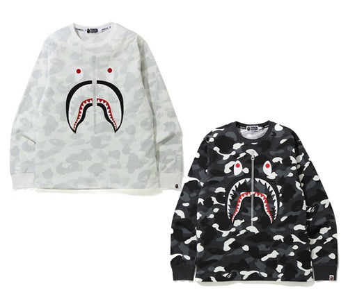 A BATHING APE CITY CAMO WGM SHARK L/S TEE