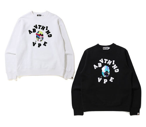 A BATHING APE MULTI CAMO EMBROIDERY HEAVY WEIGHT CREWMECK