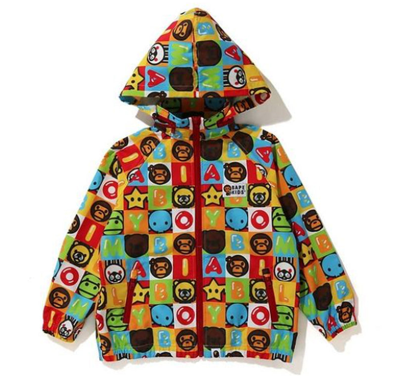 A BATHING APE BAPE KIDS MILO FRIENDS BLOCK MILO SHARK ZIP HOODIE