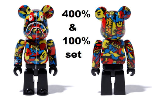 A BATHING APE x MEDICOM TOY CAMO SHARK BE@RBRICK BEARBRICK 400% & 100% Set - happyjagabee store